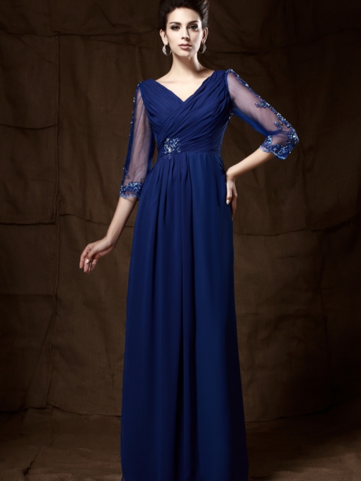 V-neck Cropped A-line V-neck 3/4-sleeves Long Mother of the Bride Dress