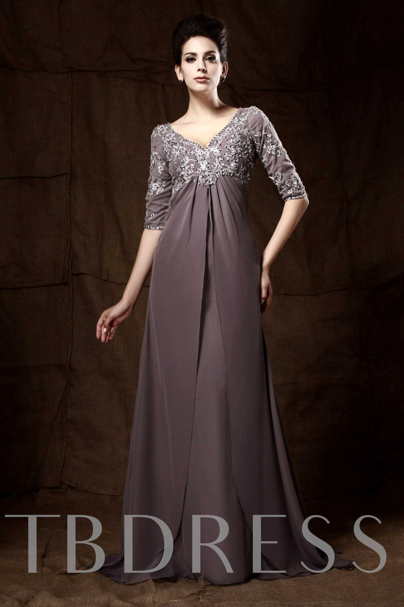 Image of Appliques Empire Waist Plus Size Mother of the Bride Dress