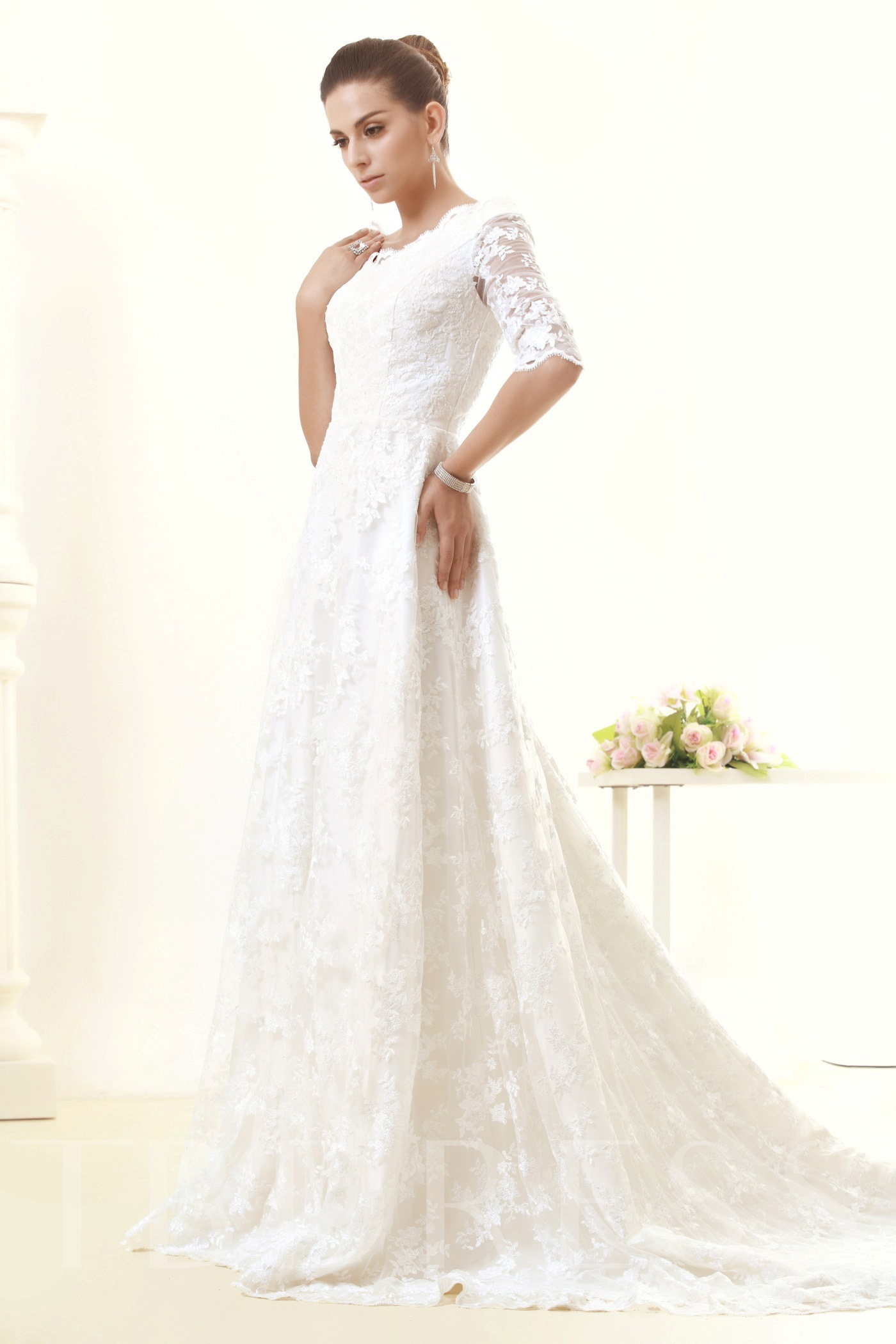 Image of Half Sleeves A-Line Lace Wedding Dress