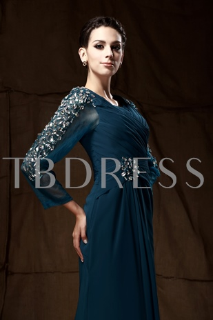 Beaded 3/4-Length Sleeves Mother of the Bride Dress