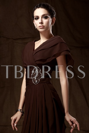 Tiered Cap Sleeve Mother of the Bride Dress