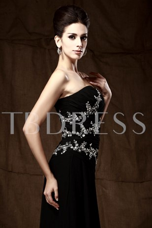 Sequins/Beaded A-Line Strapless Mother of the Bride Dress