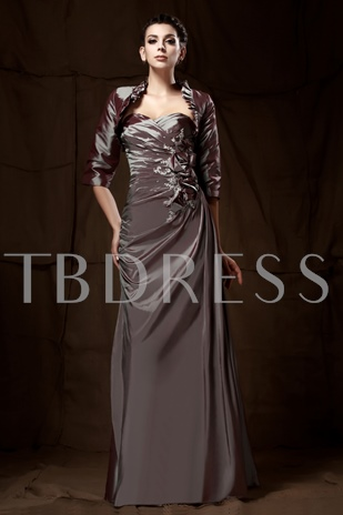 Flowers Sheath Sweetheart Neckline Ruched Mother of the Bride Dress