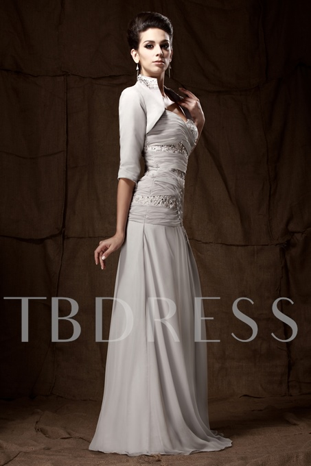Pleats A-Line Sweetheart Beading Mother of the Bride Dress