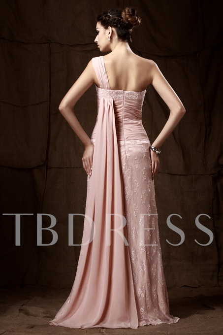 Lace Sheath/Column Mother of the Bride Dress With One Shoulder