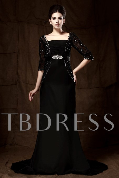 Square Neck Lace Half Sleeve Mother of the Bride Dress