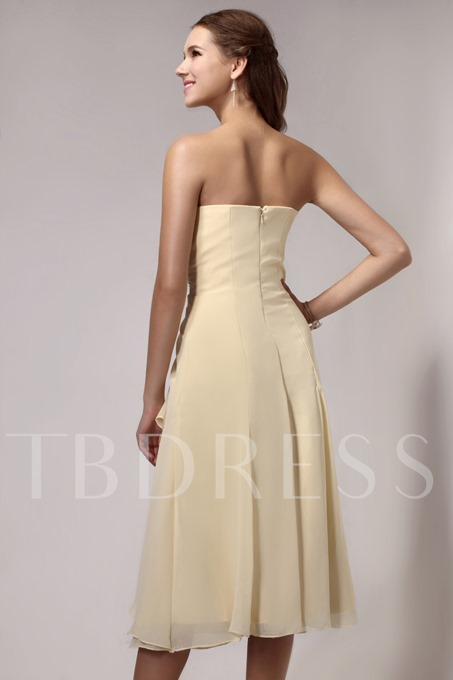 Draped A-Line Strapless Beading Tee-length Sandra's Bridesmaid Dress