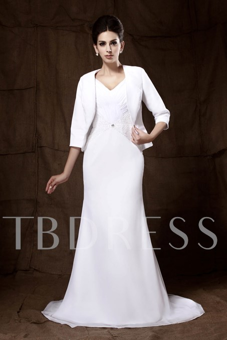 Beading Trumpet Mother of the Bride Dress With Jacket