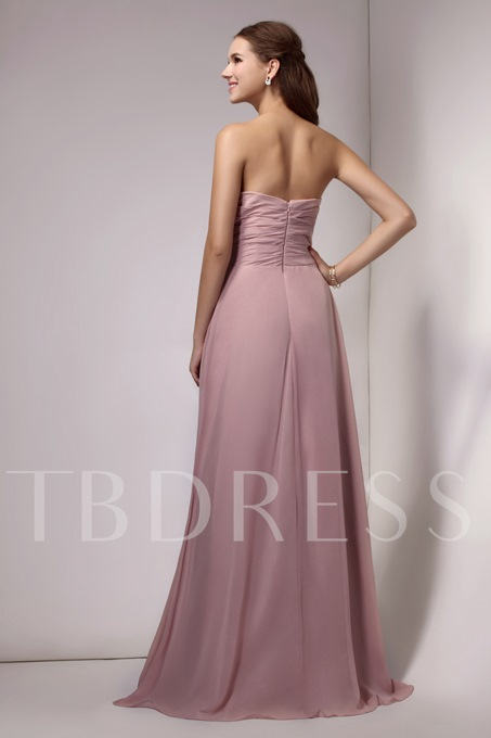 Strapless A-Line Flowers Long Bridesmaid Dress