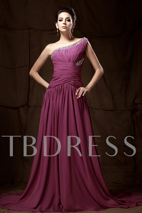 A-Line Floor-Length Court Train One-Shoulder Taline's Evening Dress