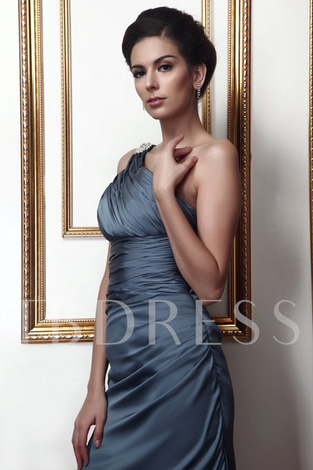 Ruched One Shoulder Sheath Mother of the Bride Dress