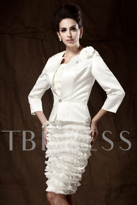 Strapless Knee-Length Mother of the Bride Dress With Jacket/Shawl