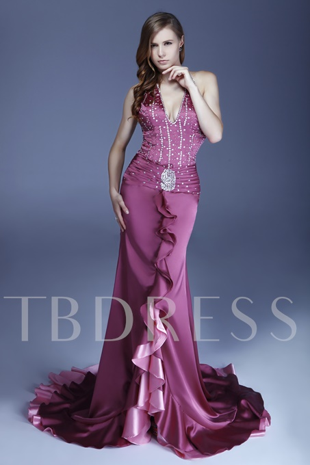 Column Floor-Length Halter Alicja's Evening Dress