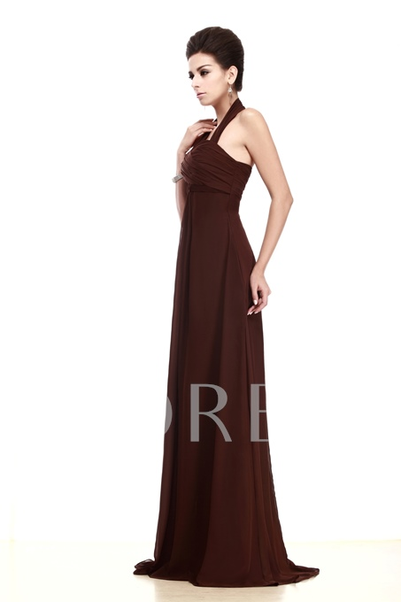 Ruched A-line Empire Waist Halter Long Bridesmaid Dress