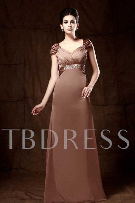 Column V-Neck Cap Sleeves Mother of the Bride Dress
