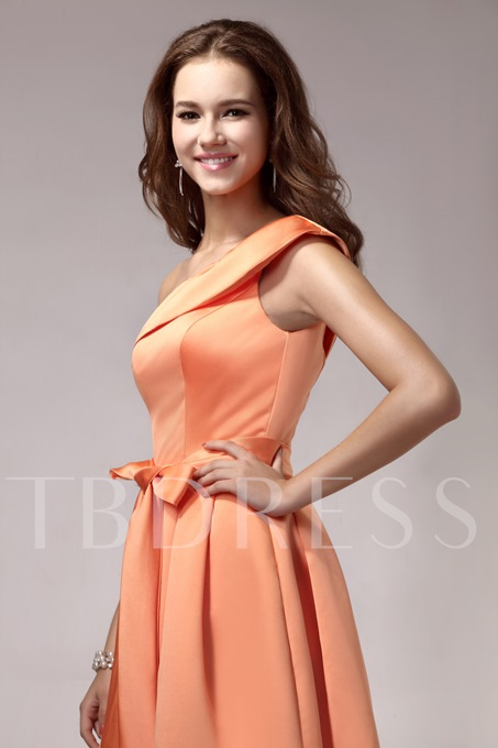 Sashes One-Shoulder Knee-Length Bridesmaid Dress