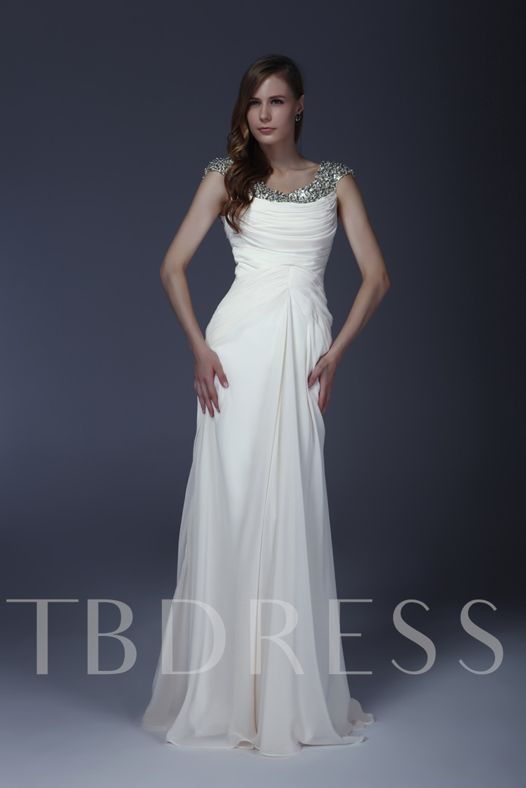 Beaded Sequins Column Mother of the Bride Dress