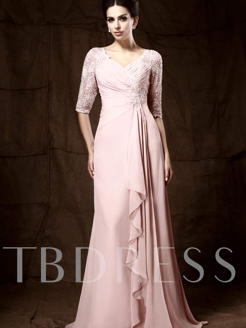 Lace Column Half Sleeves Mother of the Bride Dress