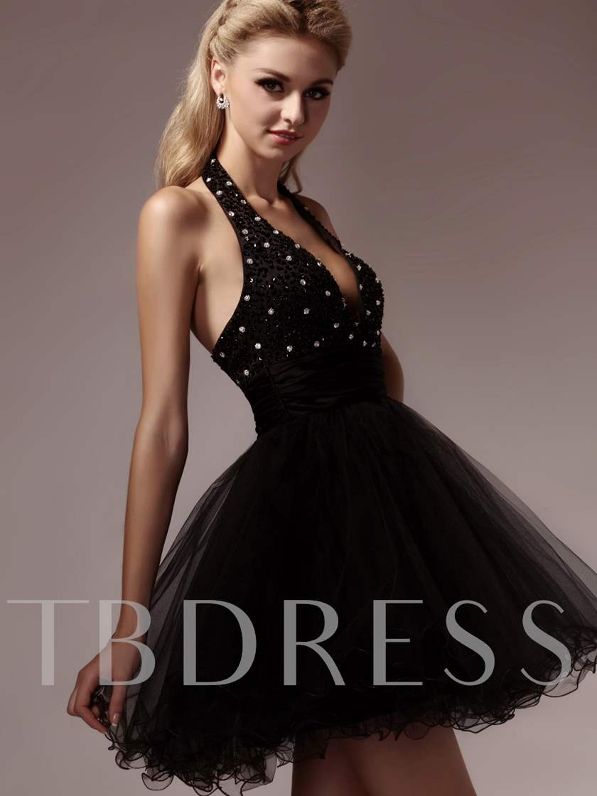 A-Line Halter Mini-Length Dasha's Cocktail/Prom Dress