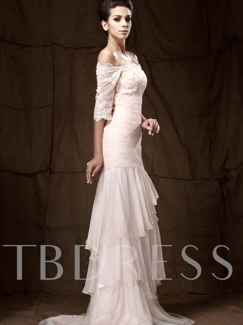 Lace Mermaid Half Sleeve Mother of the Bride Dress