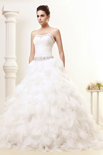 Strapless Beading Ruffles Ball Gown Wedding Dress