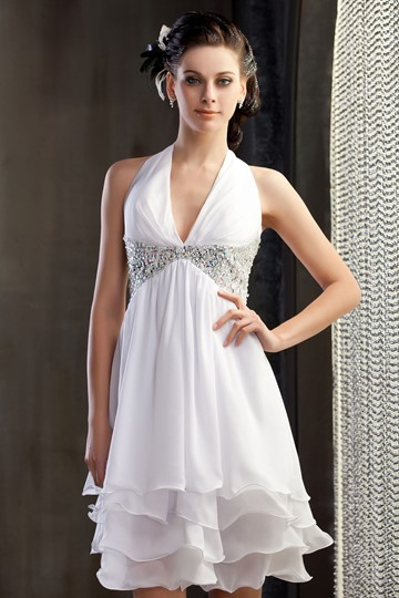 Empire Waist Halter Beading Bridesmaid Dress