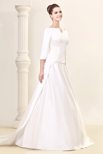 A-Line 3/4-Length Sleeve Bateau Sandra's Wedding Dress