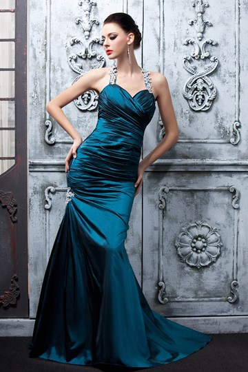 Halter Floor-Length Mermaid Ruffles Evening/Pageant Dress
