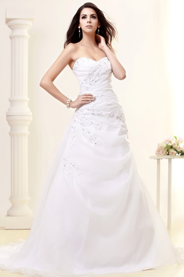 Strapless Sequins Appliques A-Line Wedding Dress