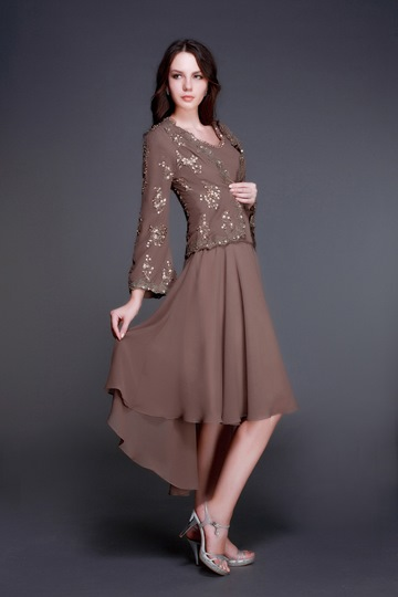 Beaded V-Neck High Low Mother Dress With Jacket