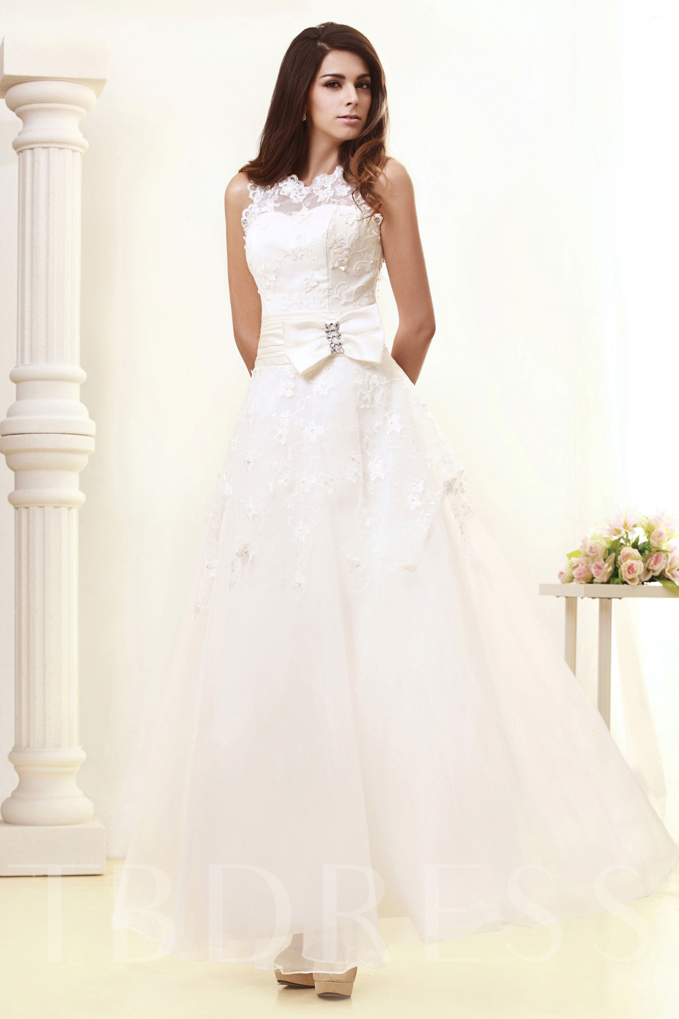 Image of A-Line Ankle-Length Lace Wedding Dress