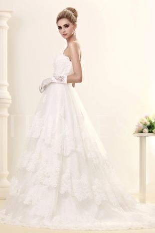 A-line Strapless Tiered Appliques Wedding Dress With Zipper-Up