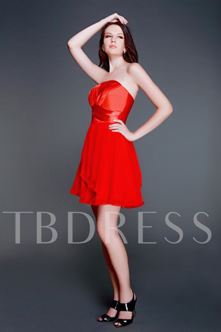A-line Mini/Short Sashes/Ribbons Strapless Luba's Homecoming/Prom Dress