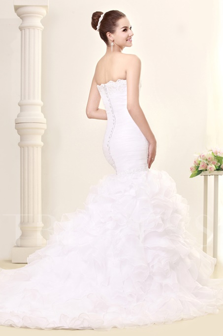 Appliques Mermaid Ruffles Wedding Dress