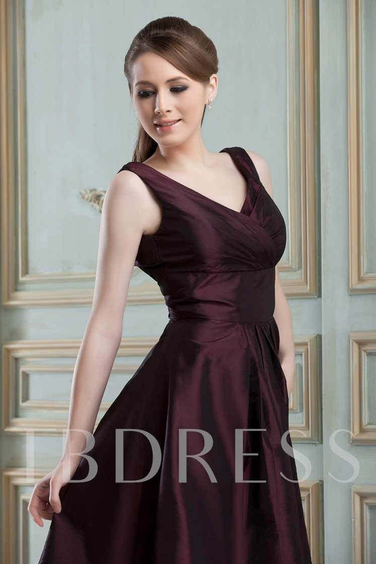 Ruched V-Neck Knee-Length Bridesmaid Dress
