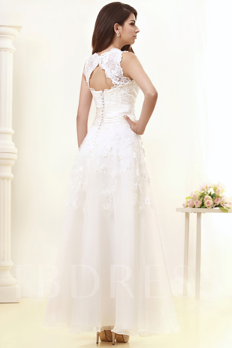 A-Line Ankle-Length Lace Wedding Dress