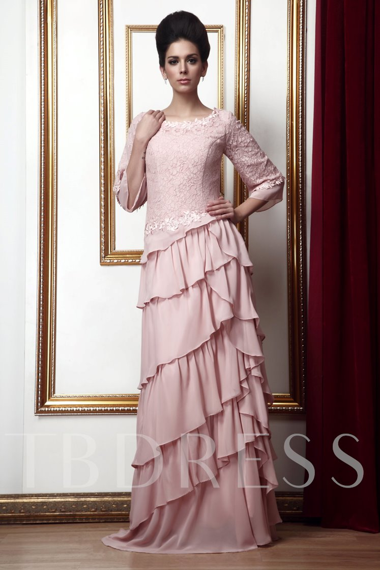 Tiered Lace 3/4 Sleeves Mother of the Bride Dress