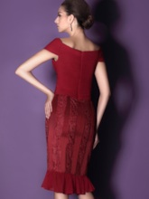 Lace Sheath Knee-Length Mother Dress