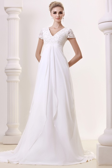 Empire Waist Short Sleeve Appliques Wedding Dress