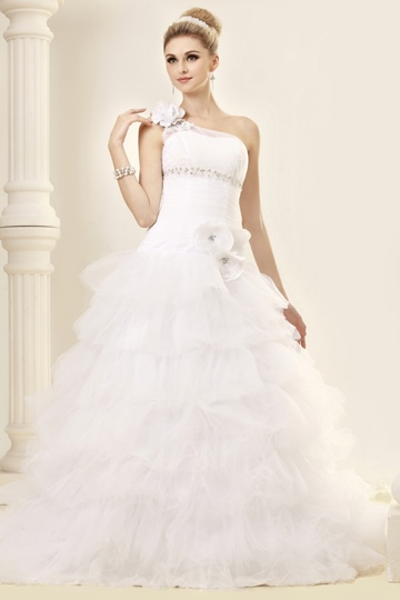 Ball Gown One-Shoulder Chapel Train Tiered Dasha's Wedding Dress