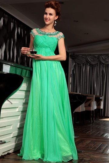 A-line Beading Long Evening Dress