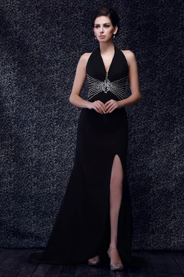 Column/Sheath Floor-Length V-neck Split-front Taline's Evening Dress
