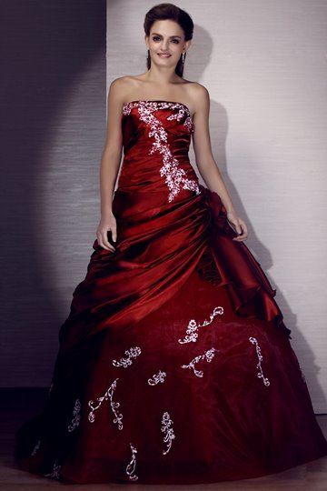 Appliques A-line Floor-length Strapless Prom Ball Gown Dress