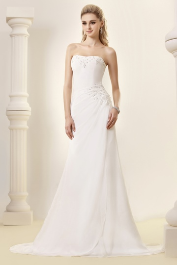 Sheath/Column Strapless Court Train Beach Dasha's Wedding Dress