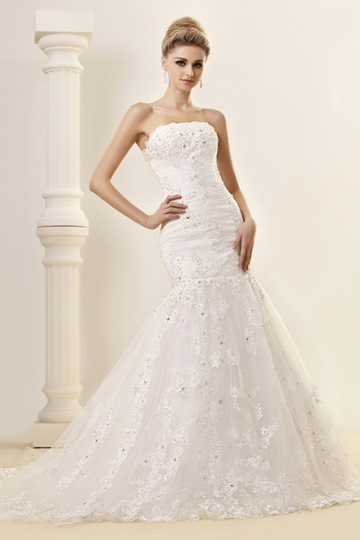 Trumpet/Mermaid Strapless Chapel Lace Dash's Wedding Dress