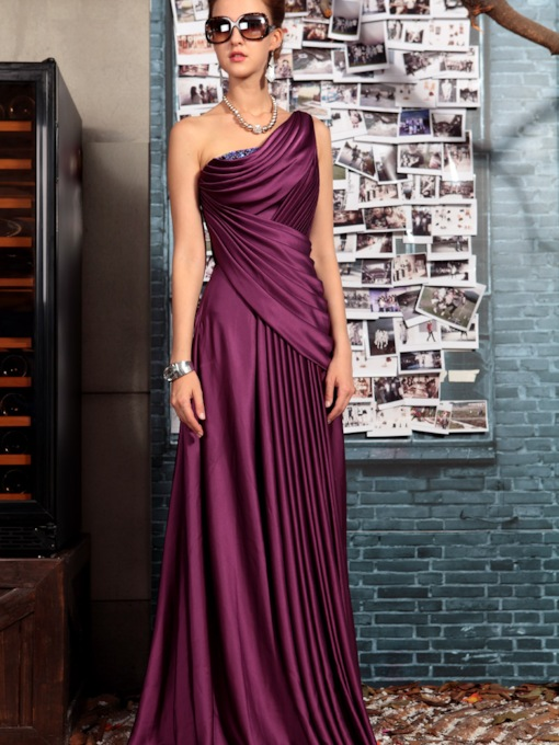 One Shoulder Floor-length Evening Event Dress