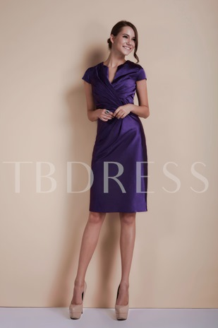 Short Sleeves Sheath Knee-Length Mother Of The Bride Dress