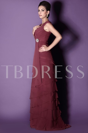 Straps Tiered Column Mother of the Bride Dress
