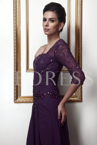 Lace Half Sleeve Sequins Mother Dress