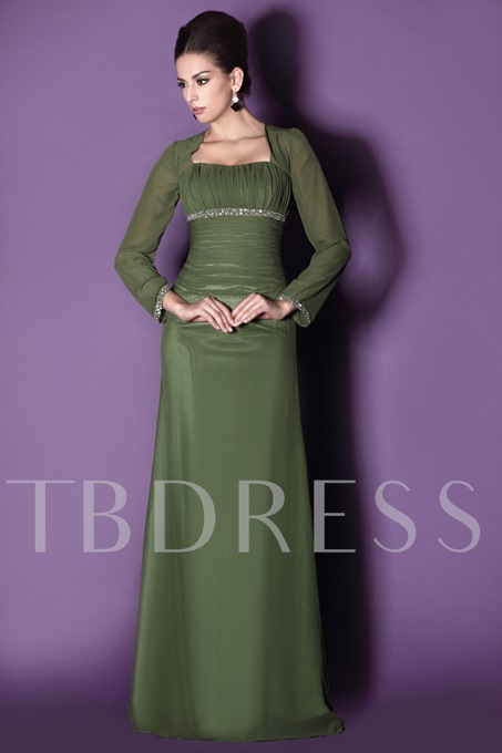 Long Sleeve Beaded Mother of the Bride Dress